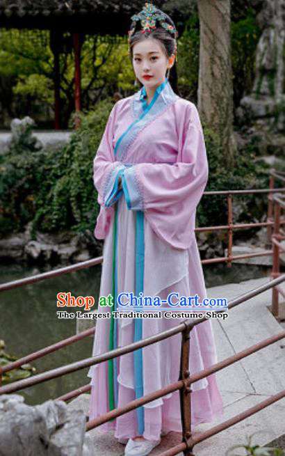 Chinese Traditional Qin Dynasty Court Lady Costumes Ancient Drama Imperial Consort Purple Hanfu Dress for Women