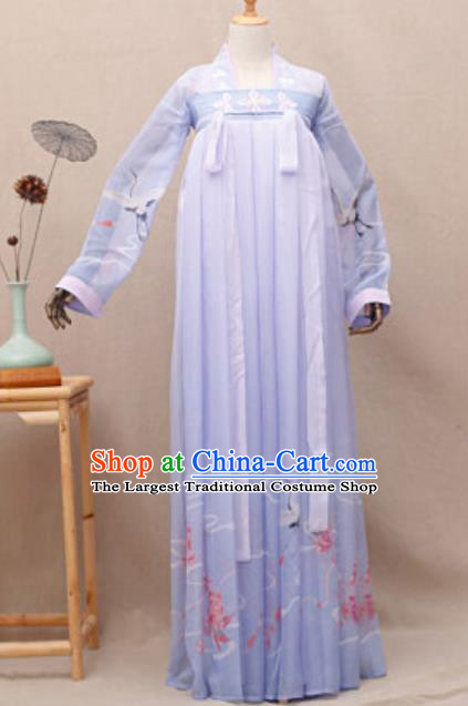 Chinese Traditional Song Dynasty Nobility Lady Costumes Ancient Drama Goddess Princess Purple Hanfu Dress for Women