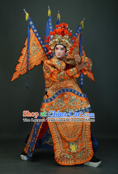 Chinese Traditional Beijing Opera Chu King Orange Costumes Peking Opera Takefu Embroidered Da Kao Clothing for Men