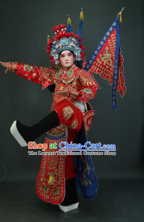 Chinese Traditional Beijing Opera Chu King Red Costumes Peking Opera Takefu Embroidered Da Kao Clothing for Men
