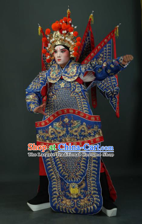Chinese Traditional Beijing Opera Chu King Blue Costumes Peking Opera Takefu Embroidered Da Kao Clothing for Men