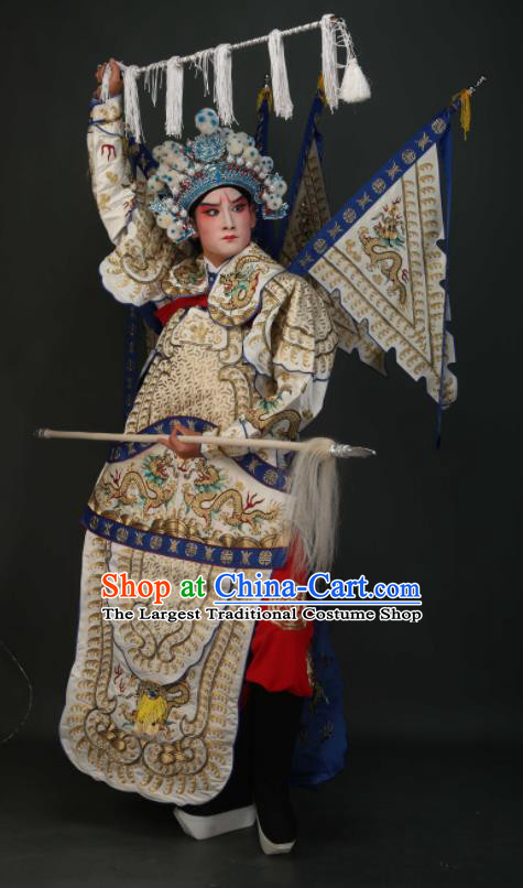 Chinese Traditional Beijing Opera Chu King White Costumes Peking Opera Takefu Embroidered Da Kao Clothing for Men