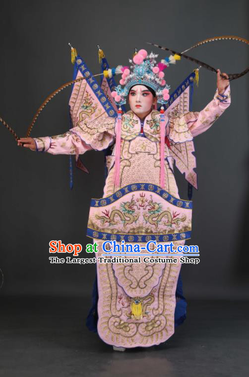 Chinese Traditional Beijing Opera Chu King Pink Costumes Peking Opera Takefu Embroidered Da Kao Clothing for Men