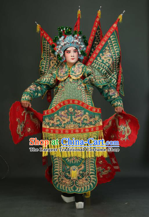 Chinese Traditional Beijing Opera Chu King Green Costumes Peking Opera Takefu Embroidered Da Kao Clothing for Men