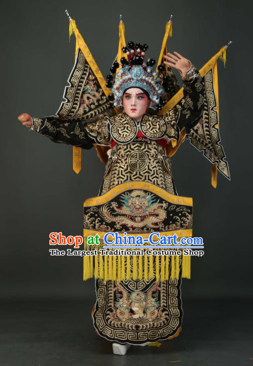 Chinese Traditional Beijing Opera Chu King Black Costumes Peking Opera Takefu Embroidered Da Kao Clothing for Men
