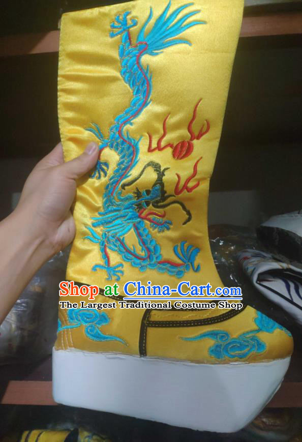 Chinese Traditional Beijing Opera Embroidered Dragon Yellow Boots Peking Opera Takefu Shoes for Men