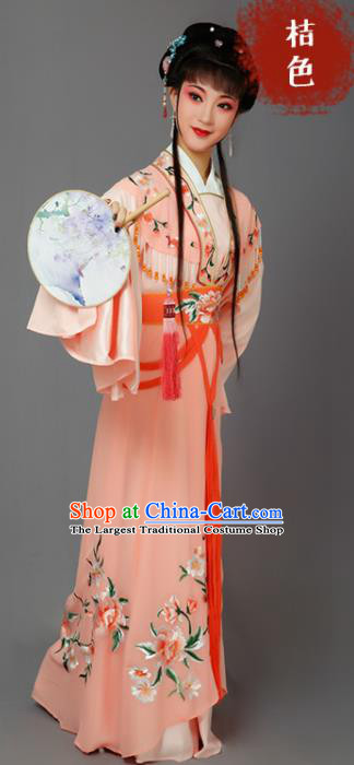 Chinese Traditional Beijing Opera Dan Actress Orange Dress Peking Opera Princess Embroidered Costumes for Women