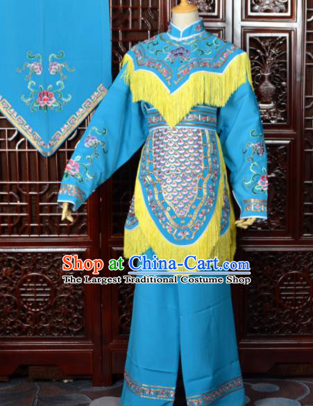 Chinese Traditional Beijing Opera Xiao Dan Blue Dress Peking Opera Maidservants Costumes for Women