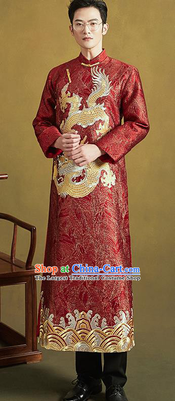 Chinese Traditional Wedding Tang Suit Costumes Ancient Bridegroom Embroidered Red Long Gown for Men