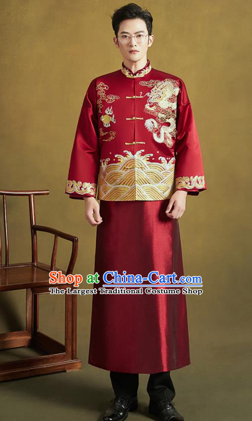 Chinese Traditional Wedding Tang Suit Costumes Ancient Bridegroom Embroidered Dragon Blouse and Long Gown for Men
