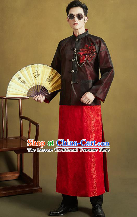 Chinese Traditional Wedding Tang Suit Costumes Ancient Bridegroom Embroidered Black Mandarin Jacket and Red Long Gown for Men