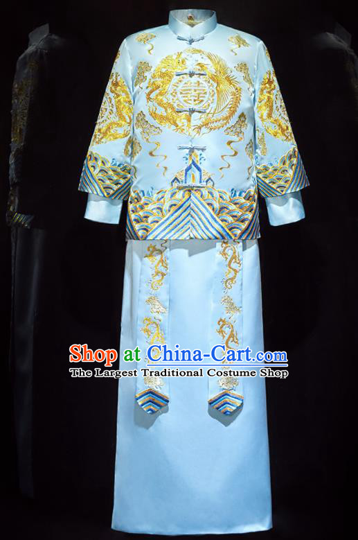 Chinese Ancient Bridegroom Embroidered Blue Mandarin Jacket and Long Gown Traditional Wedding Tang Suit Costumes for Men