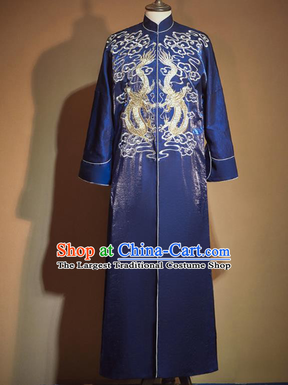 Chinese Ancient Bridegroom Embroidered Blue Long Gown Traditional Wedding Tang Suit Costumes for Men