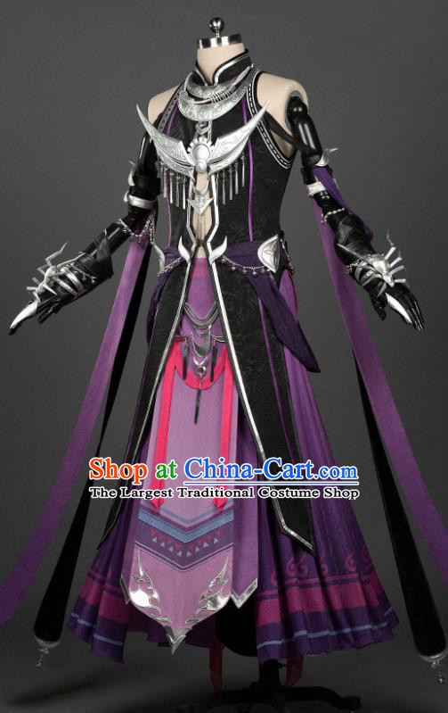 Chinese Traditional Cosplay Swordsman Purple Costumes Ancient Young Knight Clothing for Men