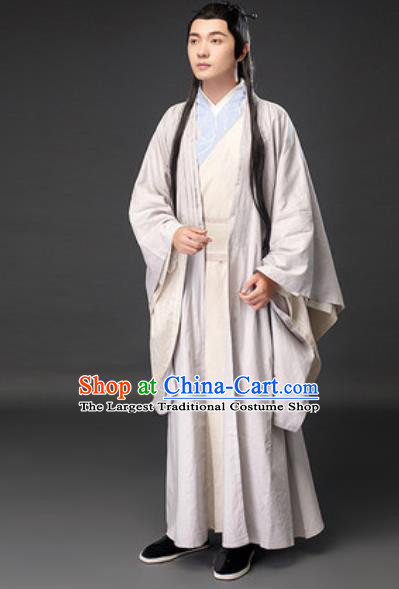 Chinese Ancient Scholar Xu Xian White Clothing Traditional Song Dynasty Civilian Costumes for Men