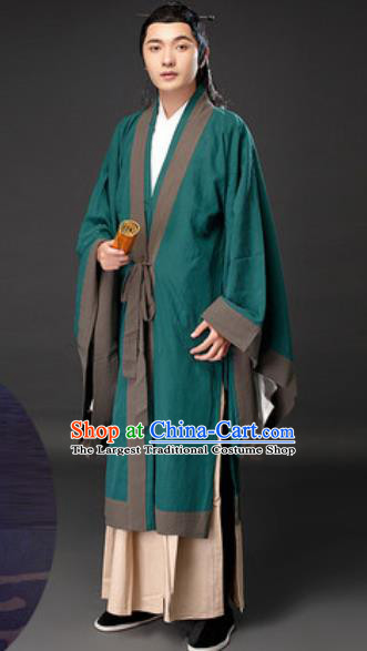 Chinese Ancient Taoist Priest Green Clothing Traditional Tang Dynasty Civilian Scholar Costumes for Men