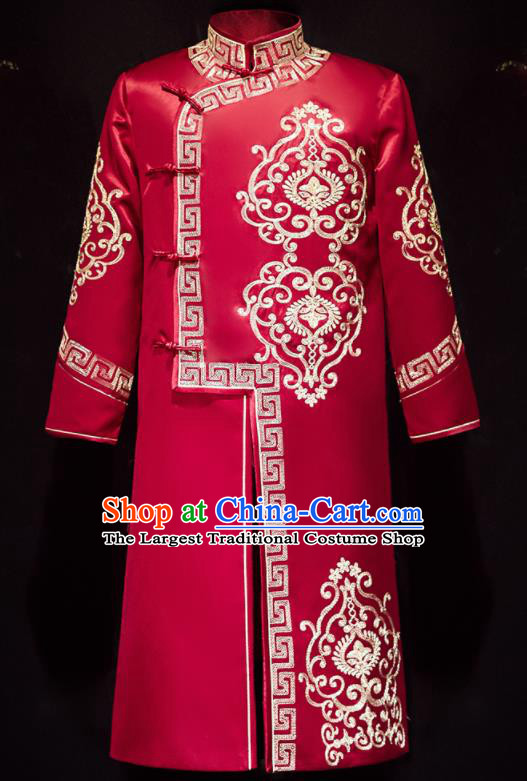 Chinese Ancient Bridegroom Embroidered Red Long Gown Traditional Wedding Tang Suit Costumes for Men