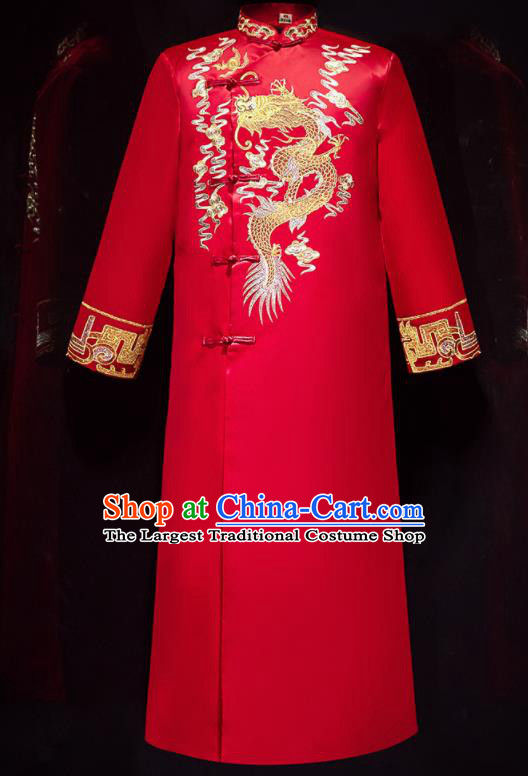 Chinese Ancient Bridegroom Embroidered Dragon Red Long Gown Traditional Wedding Tang Suit Costumes for Men
