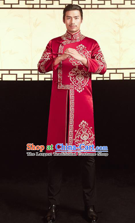 Chinese Ancient Bridegroom Embroidered Red Mandarin Jacket and Pants Traditional Wedding Tang Suit Costumes for Men