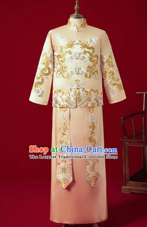 Chinese Ancient Bridegroom Embroidered Dragon Golden Mandarin Jacket and Long Gown Traditional Wedding Tang Suit Costumes for Men