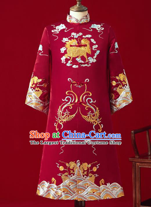 Chinese Ancient Bridegroom Embroidered Kylin Red Mandarin Jacket Traditional Wedding Tang Suit Costumes for Men