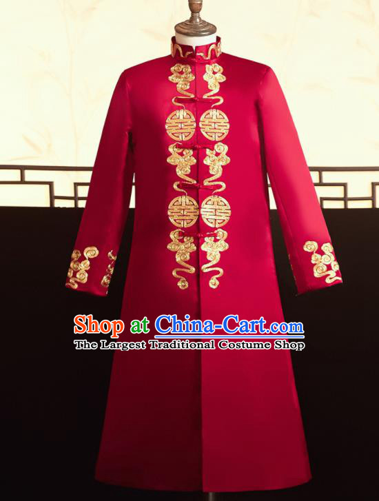 Chinese Ancient Bridegroom Embroidered Cloud Red Mandarin Jacket Traditional Wedding Tang Suit Costumes for Men