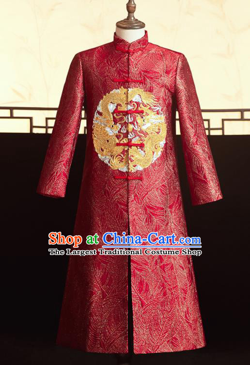 Chinese Ancient Bridegroom Embroidered Dragons Red Mandarin Jacket Traditional Wedding Tang Suit Costumes for Men