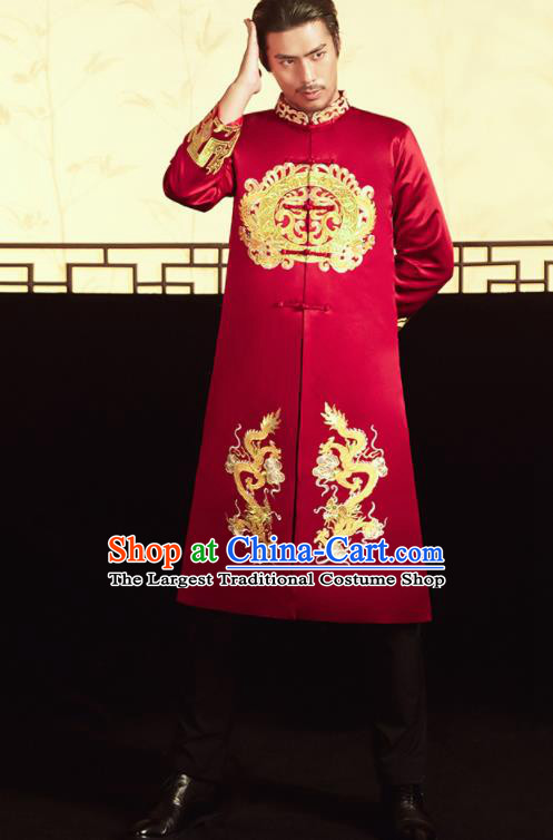 Chinese Ancient Bridegroom Embroidered Dragons Red Mandarin Jacket and Pants Traditional Wedding Tang Suit Costumes for Men