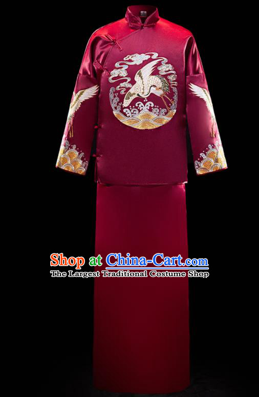 Chinese Ancient Bridegroom Embroidered Crane Purplish Red Mandarin Jacket and Gown Traditional Wedding Tang Suit Costumes for Men
