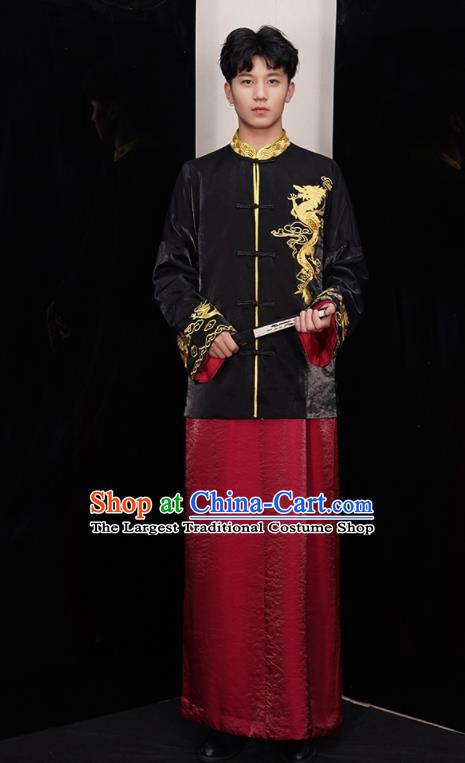 Chinese Ancient Bridegroom Embroidered Black Mandarin Jacket and Red Gown Traditional Wedding Tang Suit Costumes for Men