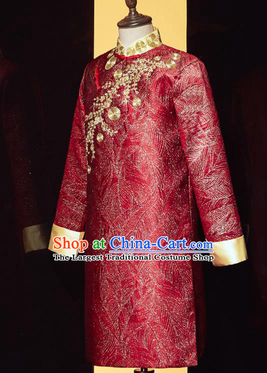 Chinese Ancient Bridegroom Embroidered Red Mandarin Jacket Traditional Wedding Tang Suit Costumes for Men