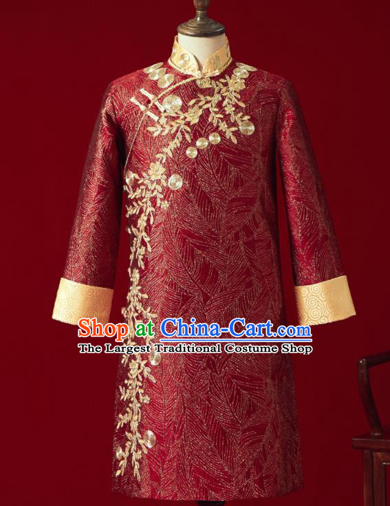 Chinese Ancient Bridegroom Embroidered Flowers Red Mandarin Jacket Traditional Wedding Tang Suit Costumes for Men