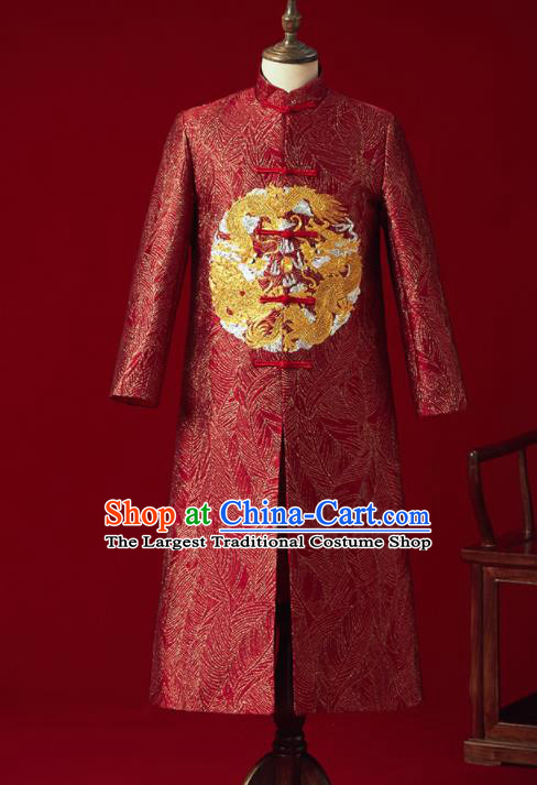 Chinese Ancient Bridegroom Embroidered Dragon Red Mandarin Jacket Traditional Wedding Tang Suit Costumes for Men