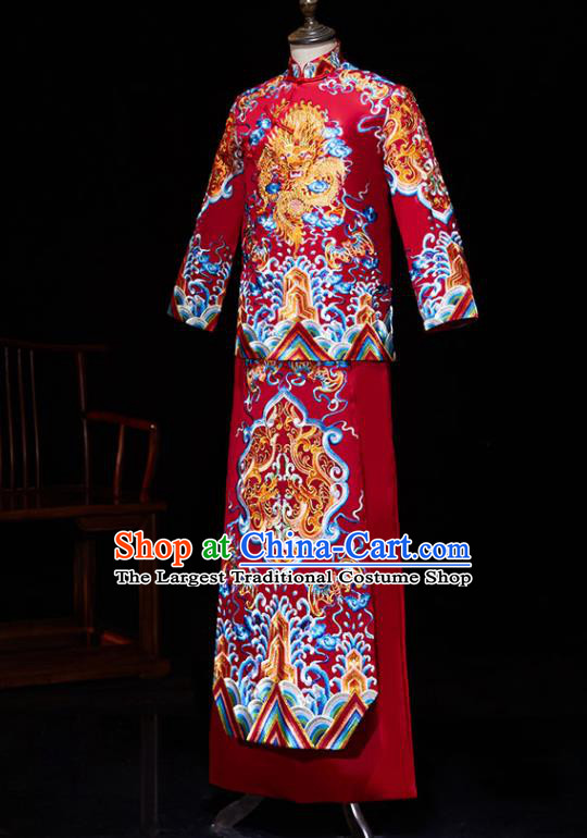 Chinese Ancient Bridegroom Embroidered Wave Dragon Red Mandarin Jacket and Gown Traditional Wedding Tang Suit Costumes for Men