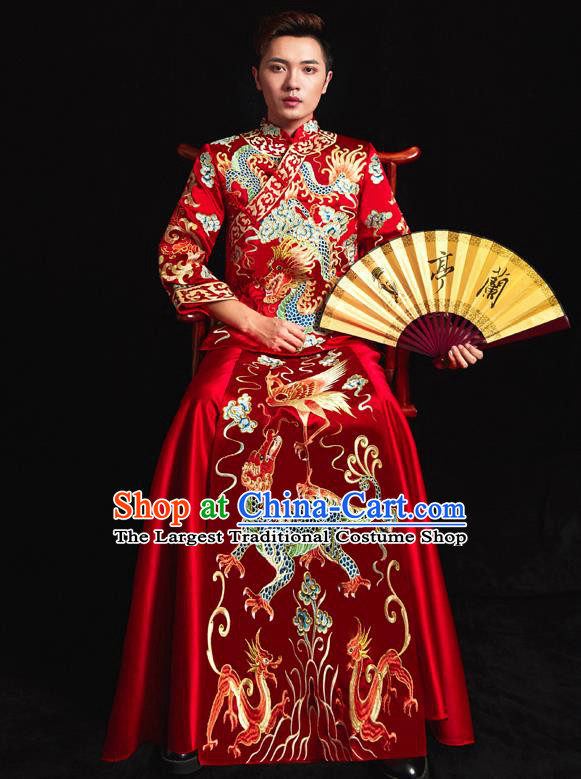 Chinese Ancient Bridegroom Embroidered Dragon Kylin Red Mandarin Jacket and Gown Traditional Wedding Tang Suit Costumes for Men