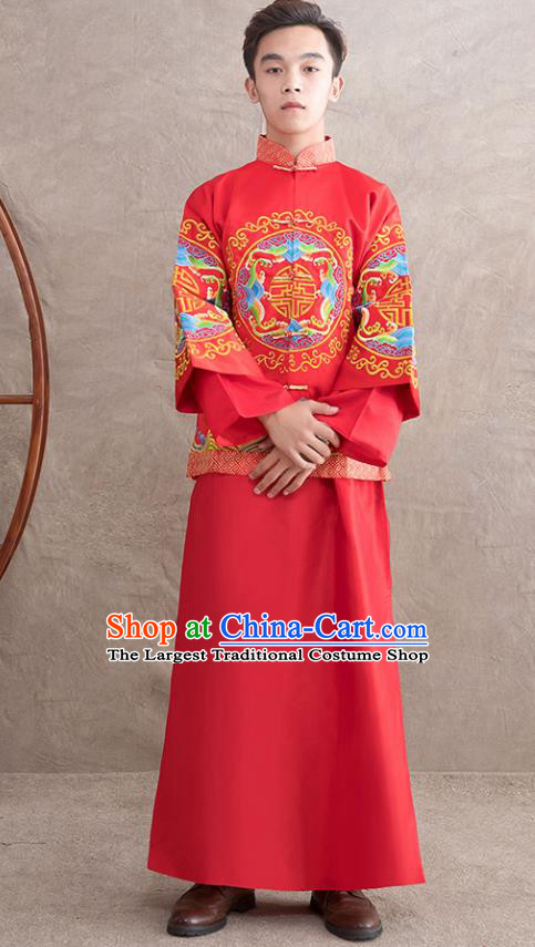 Chinese Ancient Bridegroom Embroidered Peony Red Mandarin Jacket and Gown Traditional Wedding Tang Suit Costumes for Men