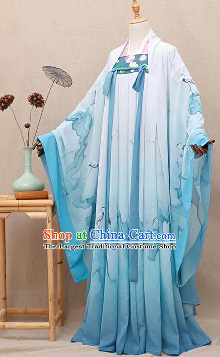 Chinese Traditional Tang Dynasty Princess Blue Hanfu Dress Ancient Peri Goddess Costumes for Women
