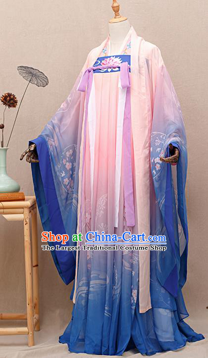 Chinese Traditional Tang Dynasty Princess Pink Hanfu Dress Ancient Peri Goddess Costumes for Women