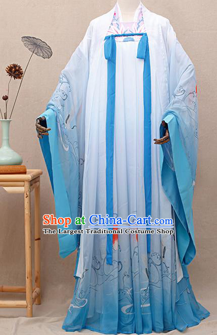 Chinese Traditional Tang Dynasty Princess Printing Blue Hanfu Dress Ancient Peri Goddess Costumes for Women