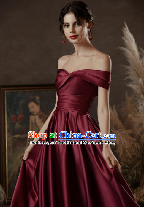 Custom Top Grade Wine Red Wedding Dress Bride Satin Dress for Women