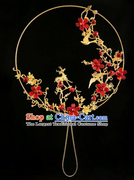 Chinese Ancient Bride Plum Deer Palace Fan Traditional Wedding Accessories Round Fan for Women
