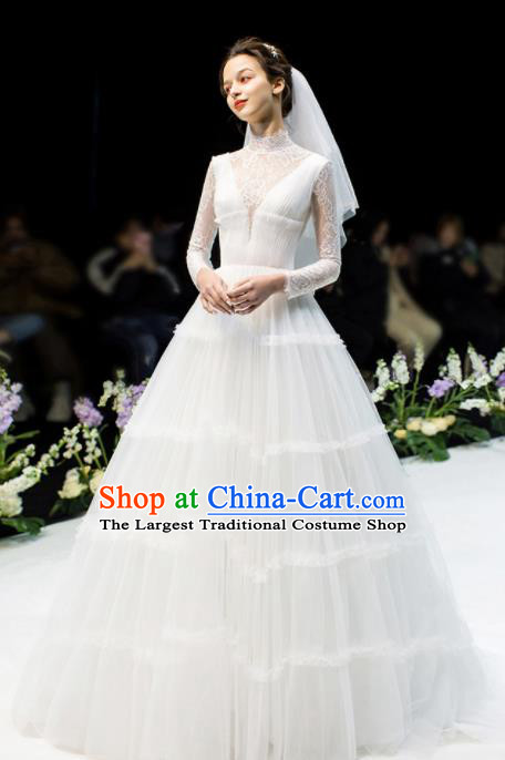 Custom Top Grade White Veil Wedding Dress Bride Lace Full Dress for Women
