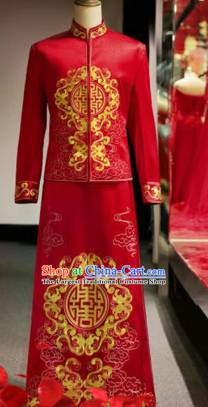Chinese Ancient Bridegroom Red Mandarin Jacket and Gown Traditional Wedding Tang Suit Costumes for Men