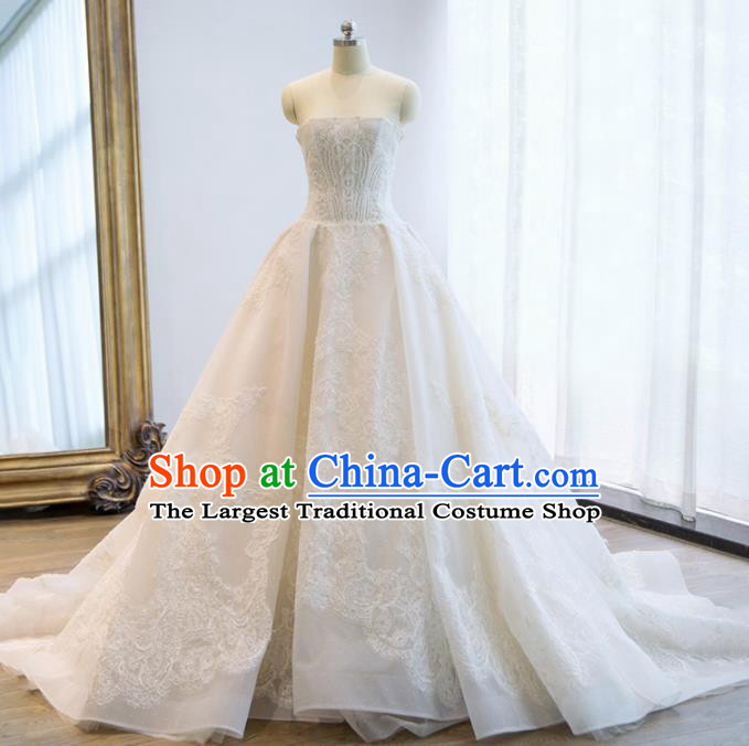 Custom Top Grade Sicily Embroidered Beads Wedding Dress Bride Strapless Full Dress for Women