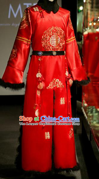 Chinese Ancient Bridegroom Embroidered Red Mandarin Gown Traditional Wedding Tang Suit Costumes for Men