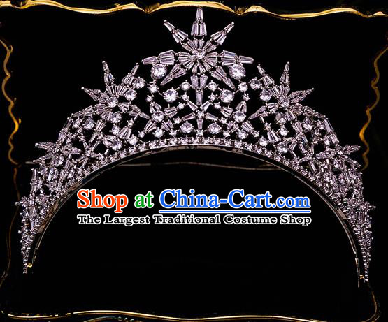 Handmade Wedding Crystal Zircon Royal Crown Princess Bride Hair Accessories for Women