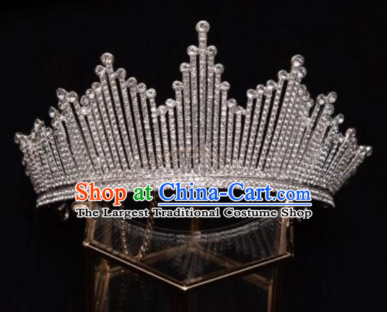 Handmade Wedding Zircon Royal Crown Princess Bride Hair Accessories for Women