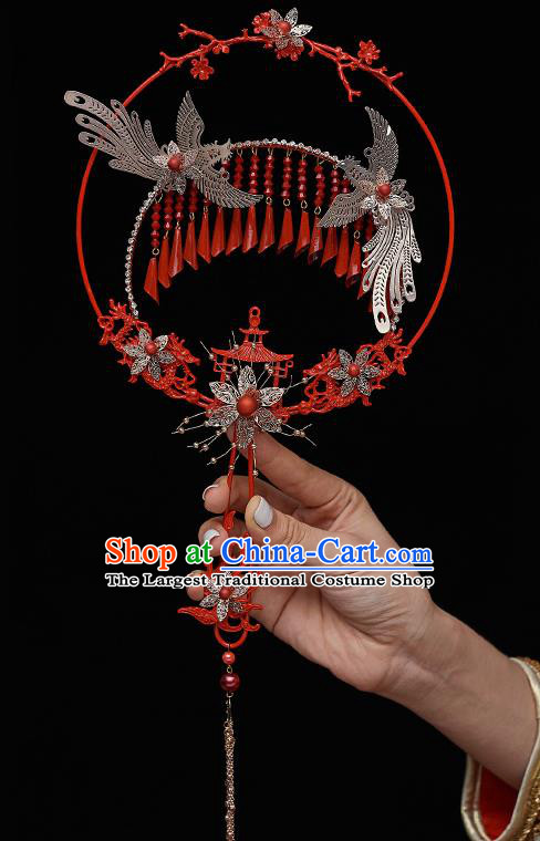 Chinese Ancient Bride Prop Palace Fans Traditional Wedding Xiu He Accessories Round Fan for Women