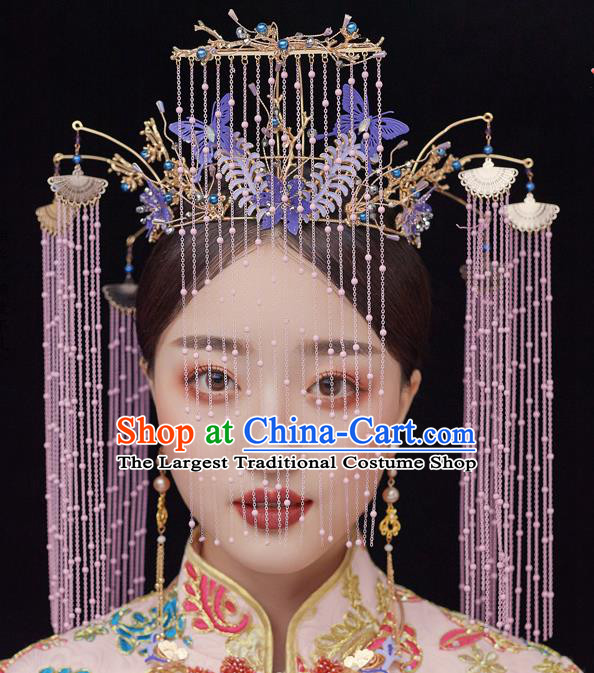Chinese Ancient Bride Purple Butterfly Phoenix Coronet Tassel Hairpins Traditional Wedding Xiu He Hair Accessories Complete Set for Women