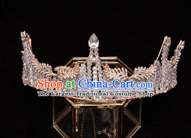Handmade Wedding Baroque Crystal Beads Royal Crown Princess Bride Hair Accessories for Women